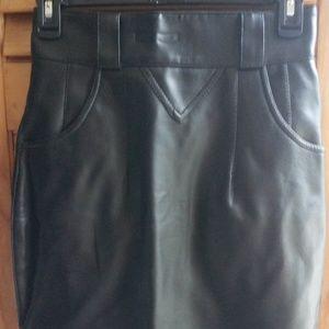 Chaus Vintage Black Faux Leather Midi Skirt